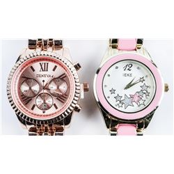 Matched Pair Ladies Fancy Watches, Gold Tone  and Silver Tone Set with Swarovski Elements