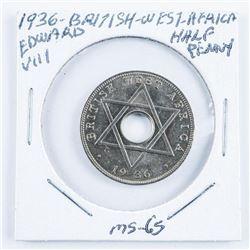 1936 British West Africa Edward VIII MS64 1/2  Penny MS-65