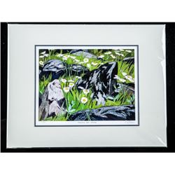 """A.J. Casson (1898-1992) Litho LE 'Flowers and  Rocks' 11x14"""" Matted Scarce # 1 Strike"""