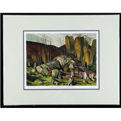"""A.J. Casson (1898-1992) Giclee 'Summer  Morning on Lake Baptiste' 11x14"""" Matted LE"""