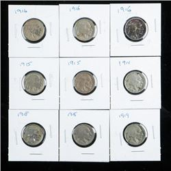 Group of (9) USA Indian Head/Buffalo Nickels  Early 1900's