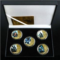Batman 80 Years 5 Medallion Set with Colour  24kt Gold Plated LE / 1000 with C.O.A.