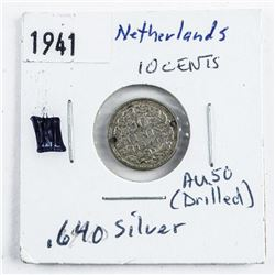 Netherlands 1941 Drilled Ten Cents .640  Silver