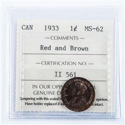 1933 Canada 1 Cent MS62. Red and Brown ICCS