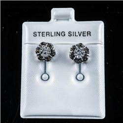 925 Sterling Earrings Set with White and  Black Diamonds
