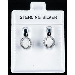 925 Sterling Silver Earrings .88cts Fiery  Opals and 40 White Topaz. Appraised: $985.00