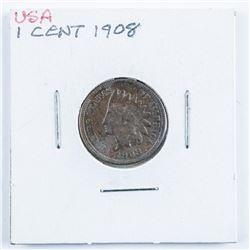 1908 USA Indian Head Penny (AU50)