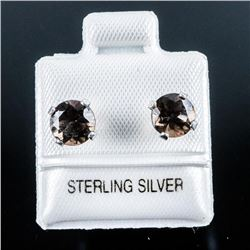 925 Silver Stud Earrings 1.70ct Round Smokey  Topaz