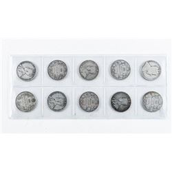 Group (10) Canada Historical Silver 50 cent -  All Over 100 Years: 1908-1919