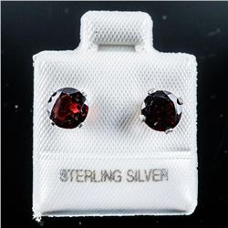 925 Silver Stud Earrings Genuine Garnets