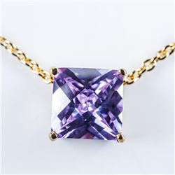 Chic Necklace Gold Plated Tanzanite Swarovski  Elements Cushion Cut Solitaire