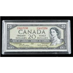 Bank of Canada 1954 20.00 Modified Portrait  B/R Museum Case
