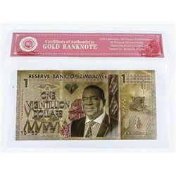 24 Carat Gold Leaf Reserve Bank of Zimbabwe  'One Vigintillion Dollars'