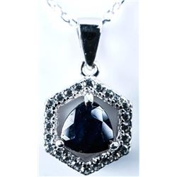 925 Sterling Silver Necklace Triangle Cut  Blue Sapphire .50ct and 25ct CZ. Appraised:  $800.00