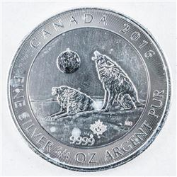 .9999 Fine Silver Howling Wolves $2.00 Coin  2015