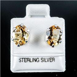 925 Silver Oval Cut Citrine Earrings, Stud  Backs
