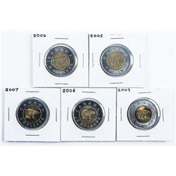 Group of (5) Canada 2.00 Coin POLAR BEAR  2005-2009
