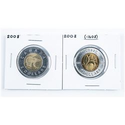 Lot (2) Canada 2.00 Coin 2008 (-1608) and  2008