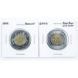 Lot (2) Canada 2.00 Coin: 1999 Nunavut Polar  bears and Cubs - Special Issues.