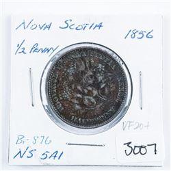 Nova Scotia 1856 1/2 Penny BR 876. VF26+
