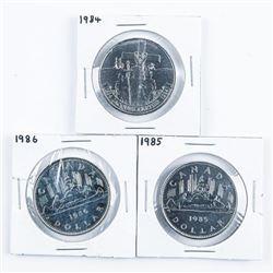 Group of (3) CANADA Nickel Dollars  1984-1985-1986