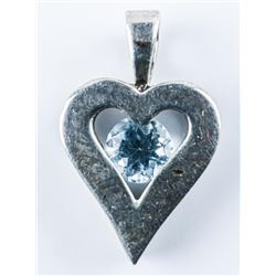 Estate 925 Silver Heart with Blue Topaz