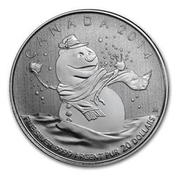 Sold Out - Royal Canadian Mint Snowman .9999 Fine Silver 20.00 Coin.
