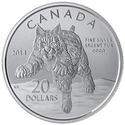 Sold Out - Royal Canadian Mint Bobcat .9999 Fine Silver 20.00 Coin.