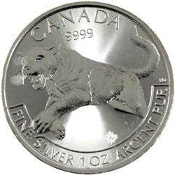 Sold Out - Royal Canadian Mint Cougar .9999 Fine Silver 5.00 Round.