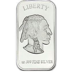 USA - Buffalo/Indian Head .999 Fine Silver 1oz Bar - Collector Bullion.