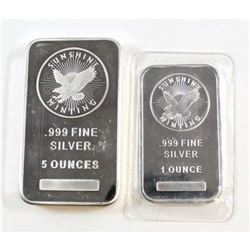 Pair of .999 Fine Silver Collector Bars. 5oz and 1oz.