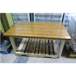 """Painted Wooden Merchandise Table with Distressed Top 60""""L x 36"""""""