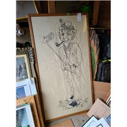Large cartoon drawing by Ron Poutt Cat B