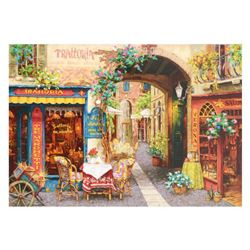 "Viktor Shvaiko, ""Trattoria Tre Marchetti"" Hand Embellished Limited Edition Serigraph on Canvas, Numb"