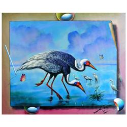 "Ferjo, ""Wading Birds"" Original Painting on Canvas, Hand Signed with Letter of Authenticity."