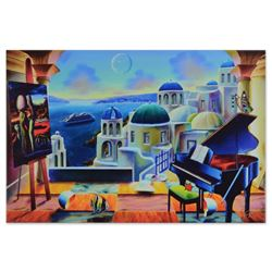 "Ferjo, ""Santorini at Dusk"" Limited Edition on Gallery Wrapped Canvas, Numbered and Signed with Lette"