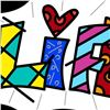 "Image 2 : Romero Britto ""Life Black Mini Word"" Hand Signed Giclee on Canvas; Authenticated"