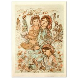 """""""Family in the Field"""" Limited Edition Lithograph by Edna Hibel (1917-2014), Numbered and Hand Signed"""