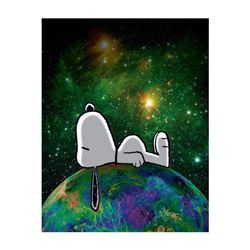 """Peanuts, """"On Top of the World"""" Hand Numbered Canvas (40""""x44"""") Limited Edition Fine Art Print with Ce"""