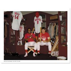 Pete Rose & Morgan in Clubhouse  Archival Photograph Autographed by Pete Rose and Joe Morgan. Inclu