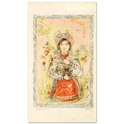 """""""Tonnette"""" Limited Edition Lithograph by Edna Hibel (1917-2014), Numbered and Hand Signed with Certi"""