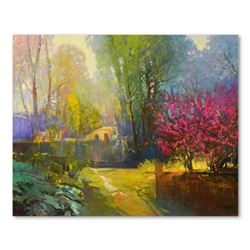 """Ming Feng, """"Pathway to the Bridge"""" Original Oil Painting on Canvas, Hand Signed with Letter of Authe"""