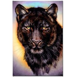 """""""Black Phase Leopard"""" Limited Edition Giclee on Canvas by Martin Katon, Numbered and Hand Signed. Th"""