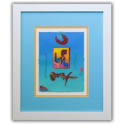 "Peter Max- Original Mixed Media ""Love 2005 Ver. I #133"""