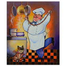 "Alexander Ischenko, ""Dog and the Chef"" Original Acrylic Painting on Canvas, Hand Signed with Letter"