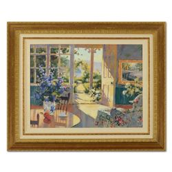 "Marilyn Simandle, ""Sunlit Cottage"" Framed Limited Edition on Canvas, Numbered 28/50 and Hand Signed"