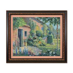 """Christian Title (1932-2020), """"Italian Villa"""" Framed Limited Edition Serigraph on Canvas, Numbered 28"""