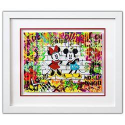 "Nastya Rovenskaya- Original Mixed Media on Paper ""Mickey & Minnie"""