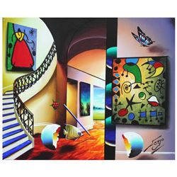 "Ferjo, ""Dreaming of Miro"" Original Painting on Canvas, Hand Signed with Letter of Authenticity."