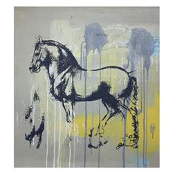 "Gail Rodgers, ""Leonardo's Horse"" Hand Signed Original Hand Pulled Silkscreen Mixed Media on Canvas w"